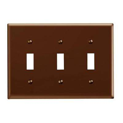 3-Gang 3-Toggle Standard Size Plastic Wall Plate, Brown