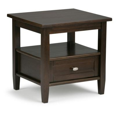 Warm Shaker Solid Wood 20 in. Wide Rustic End Side Table in Tobacco Brown
