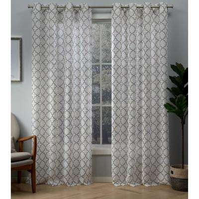 Helena 54 in. W x 96 in. L Sheer Grommet Top Curtain Panel in Natural (2 Panels)