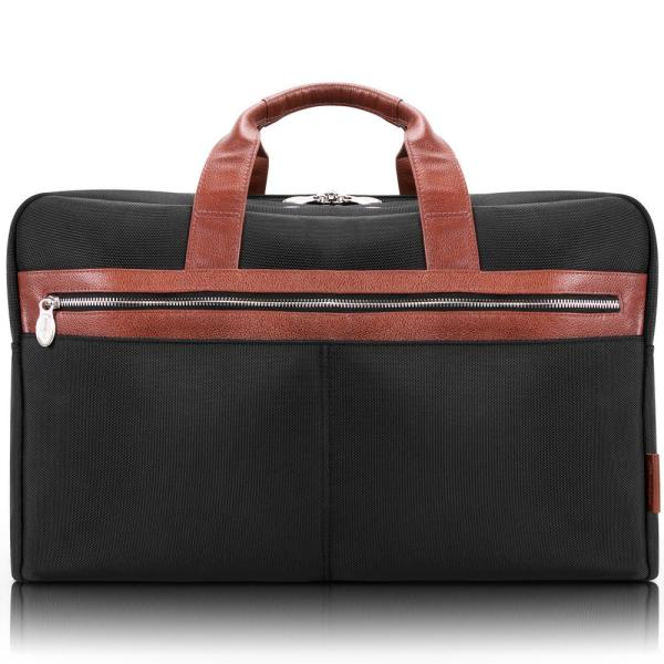 McKlein Wellington, 21 in. Black 1680D Ballistic Nylon with Leather Trim Laptop and Tablet Carry-All Duffel