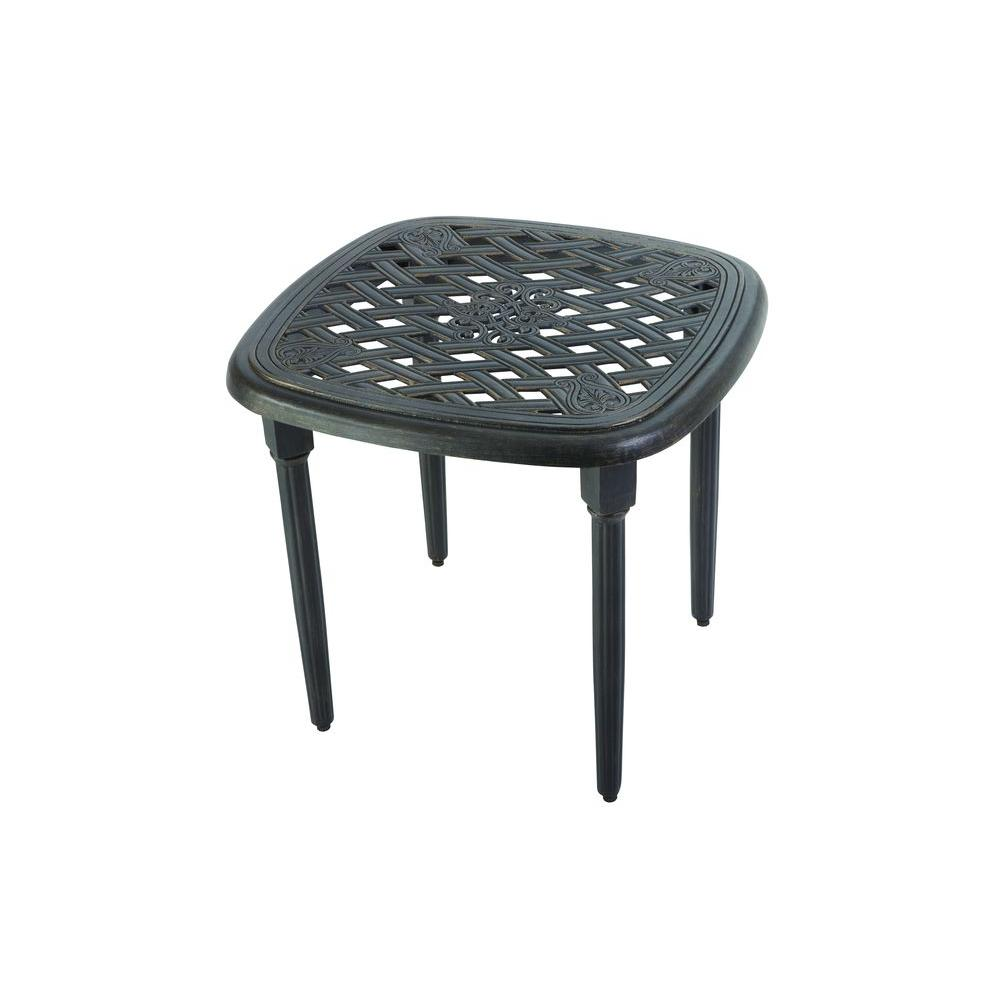 Hampton bay edington 22 in patio side table 131 012 22et the home patio side table watchthetrailerfo