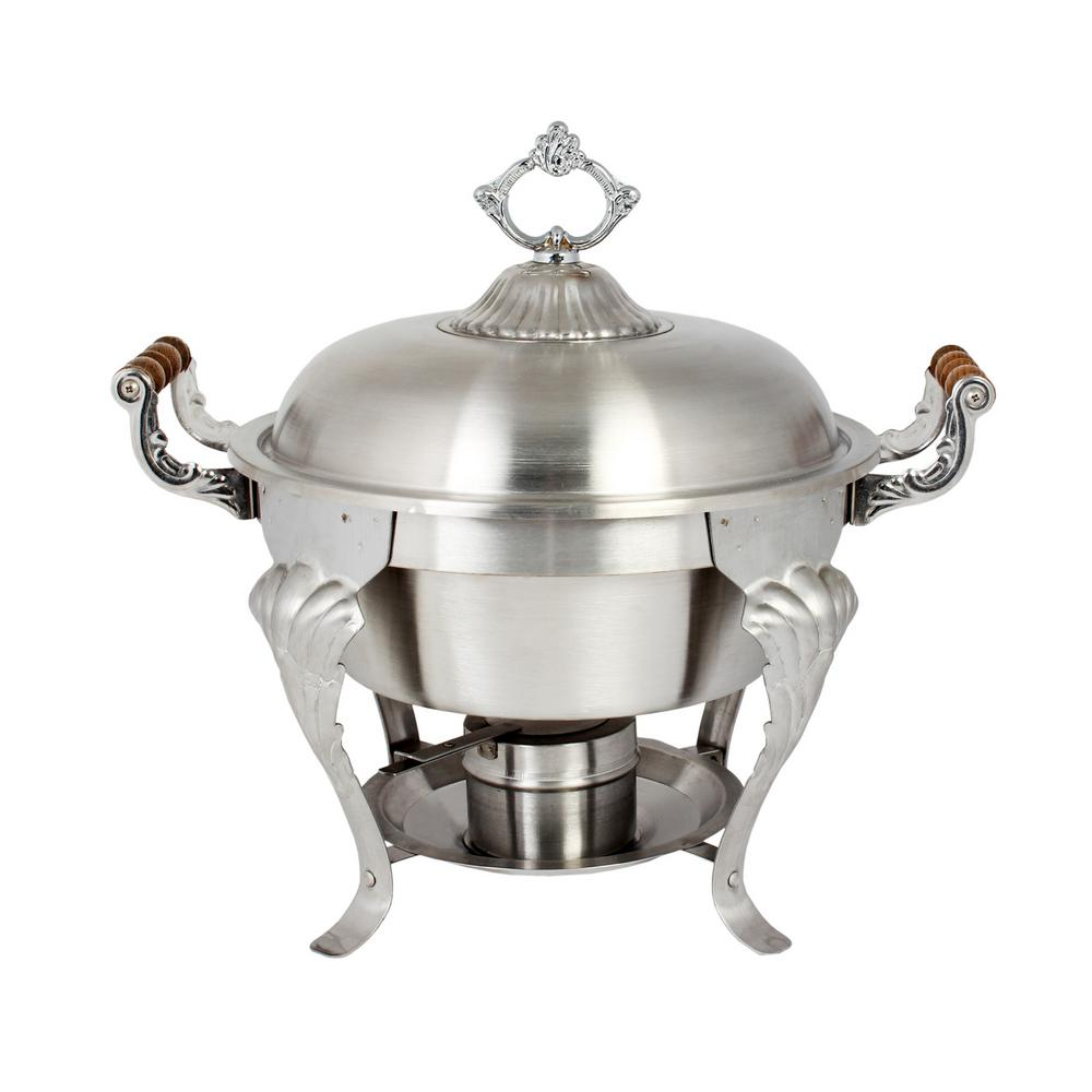 Restaurant Essentials 5 Qt. Half Size Round/Wood Handles Set The Chafer half size 5 Qt. capacity round dome cover wood handles satin finish stainless steel was designed with a royal shape to help entertain in style and elegance. This chafer is ideal for caterers and restaurants, it is a great way to keep food warm, and is an attractive alternative to the average steam table. The set comes complete with a water pan, food pan, and removable lid with handle, chafer rack, fuel holder, and fuel plate. The chafer was constructed out of stainless steel which will ensure a long product lifespan. The chafer was designed with a bright finish, decorative accents, and decorative wooden handle covers which helps to bring an elegant look to any event.