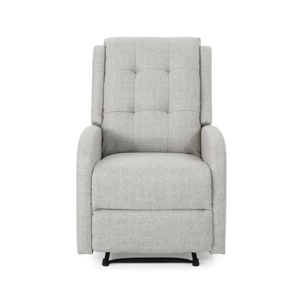 Noble House O'Leary Modern Tufted Back Beige Fabric Recliner 305855
