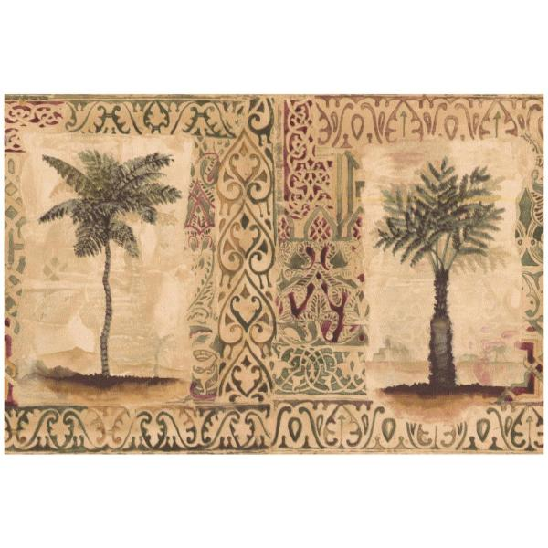 Norwall Vintage Palm Trees In Squares Faux Carpet Beige Prepasted Wallpaper Border Sp76492l The Home Depot