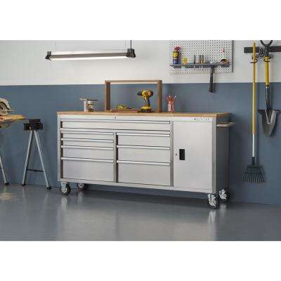 72 in. 8-Drawer and 1-Door Mobile Workbench in Stainless Steel
