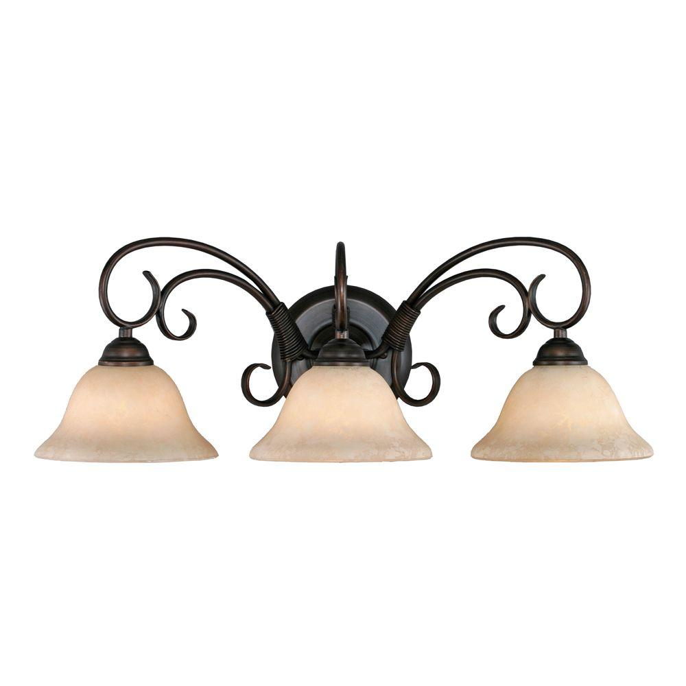 Golden Lighting Homestead Collection 3 Light Rubbed Bronze Bath Vanity
