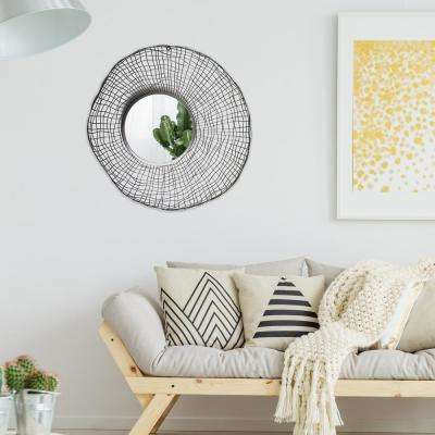 Wire Nest Round Silver Decorative Mirror