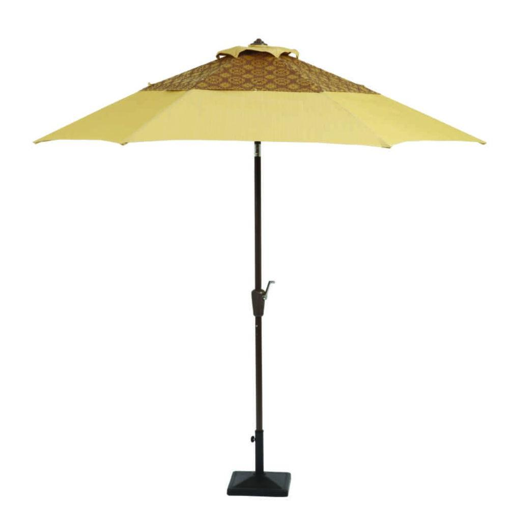 Martha Stewart Living Cedar Island 9 ft. Patio Umbrella in Beige-DISCONTINUED