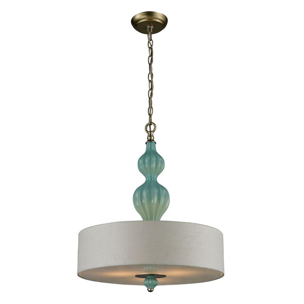 Titan Lighting Lilliana 3-Light Seafoam and Aged Silver Ceiling Pendant