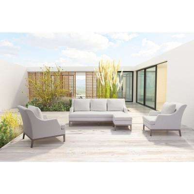 Ojai White Stationary Aluminum Outdoor Lounge Chair Champagne With Cushion