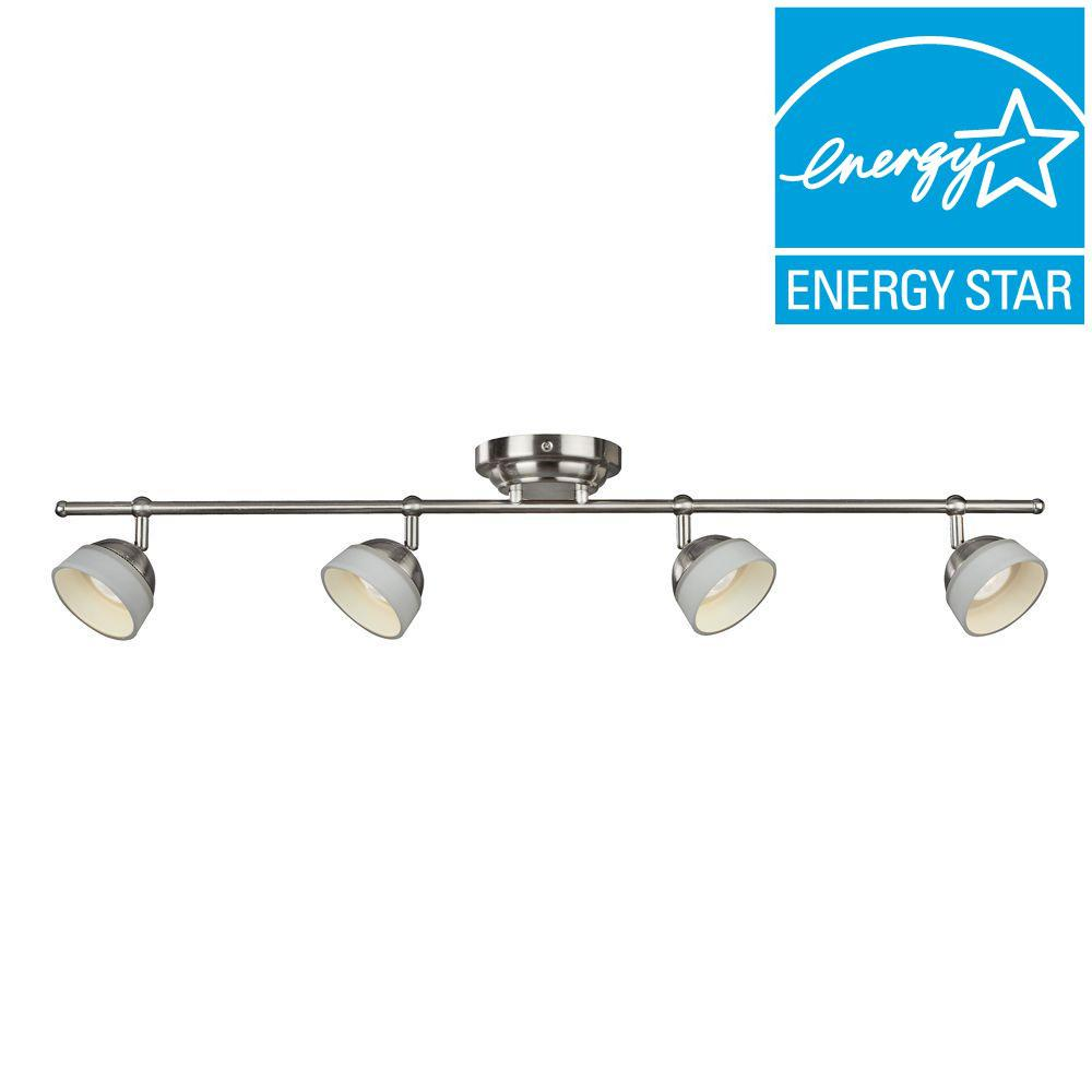 dimmable led track lighting kits. aspects madison 4-light satin nickel dimmable fixed track lighting kit-madf430030lsn - the home depot led kits