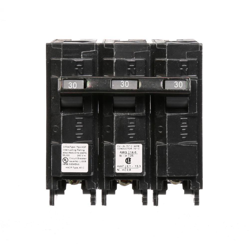 Siemens 30 Amp Three-Pole Type HQP 66kA Circuit Breaker-Q330HH - The ...