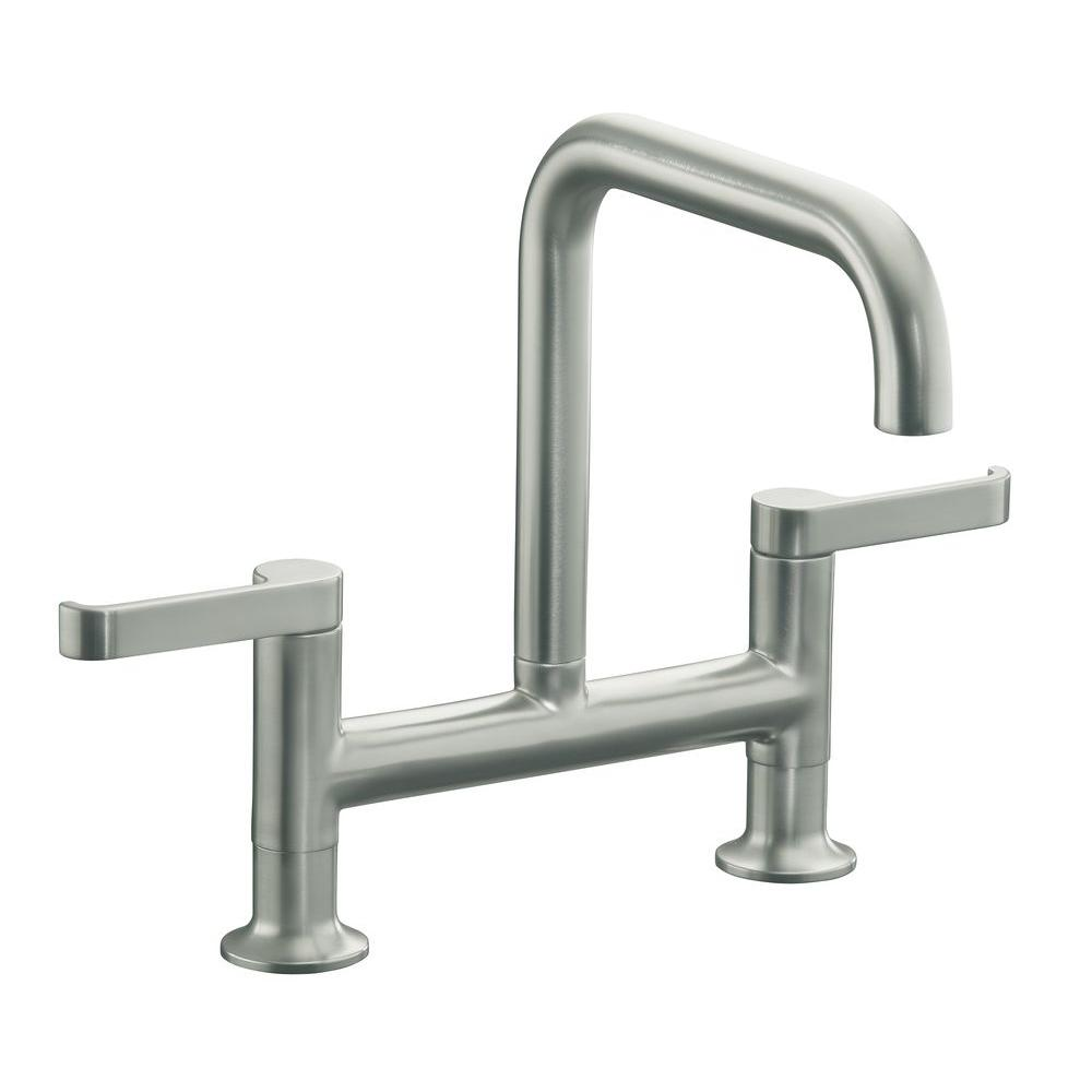 KOHLER Torq Deck-Mount 2-Handle Kitchen Faucet in Vibrant Stainless Steel-DISCONTINUED