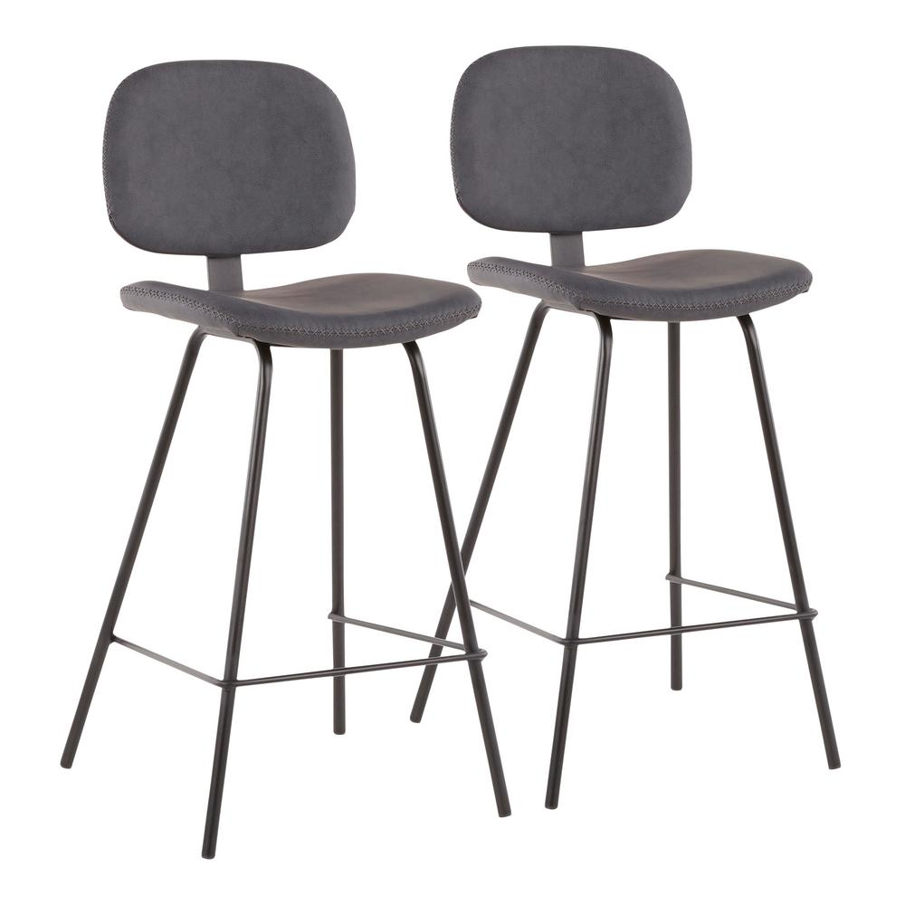 Lumisource Industrial Nunzio 26 In Grey Faux Leather Counter Stool