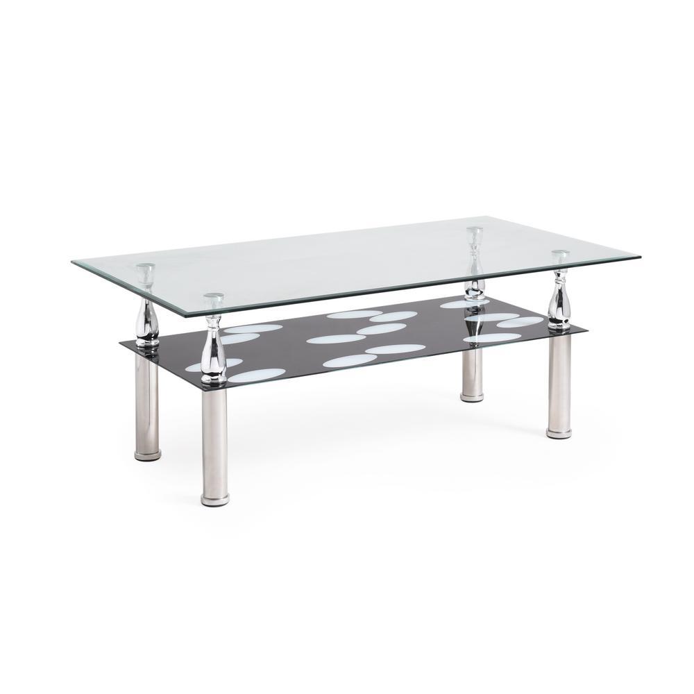 Chrome Coffee Table Legs Fancy Glass Coffee Table: 2 Tier Coffee Table Chrome Plated Legs Durable Tempered