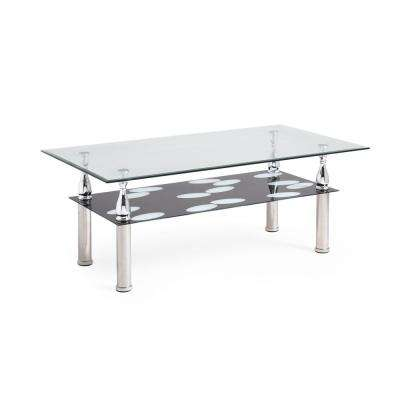 Rectanglar Tempered Clear/Black Glass 2-Tier Coffee Table with Chrome Plated Legs