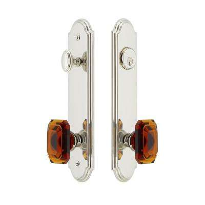 Arc Tall Plate 2-3/8 in. Backset Polished Nickel Door Handleset with Baguette Amber Door Knob