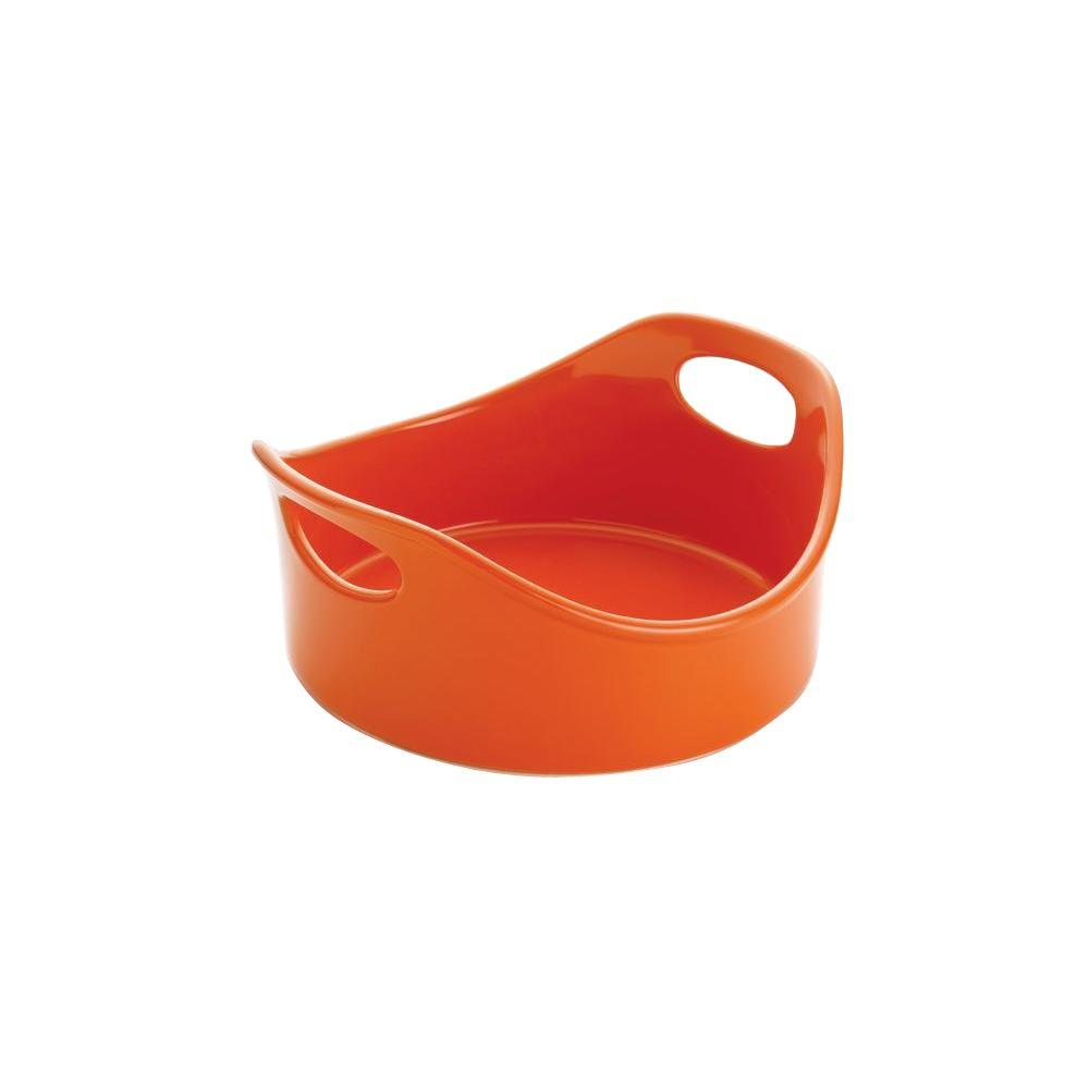 Rachael Ray Stoneware 2 qt. Round Open Baker in Orange
