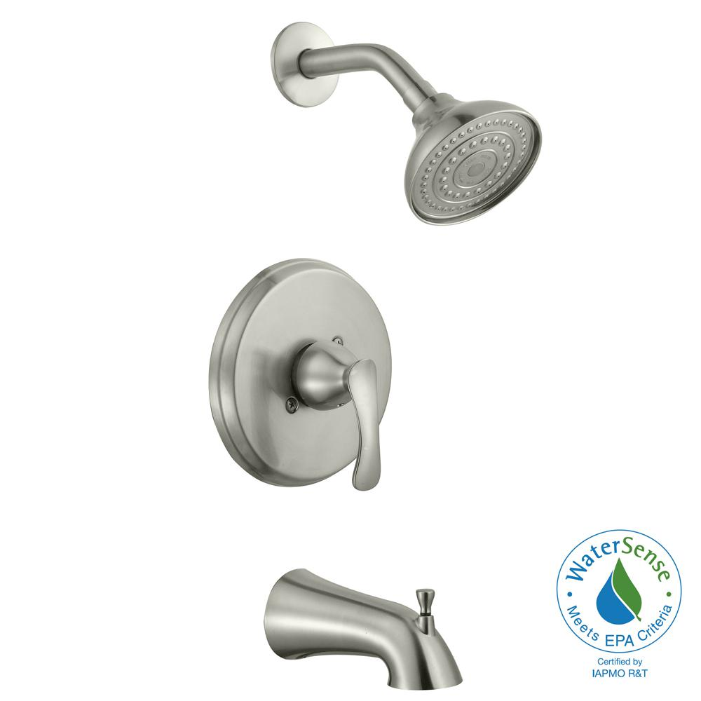 shower heads that connect to bathtub faucet. Glacier Bay Edgewood Single Handle 1 Spray Tub and Shower Faucet in Brushed  Nickel