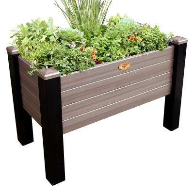 24 in. x 48 in. x 32 in. Maintenance Free Black and Walnut Vinyl Elevated Garden Bed