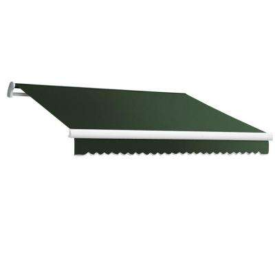 16 ft. Maui-LX Right Motor Retractable Acrylic Awning with Remote (120 in. Projection) in Olive/Alpine