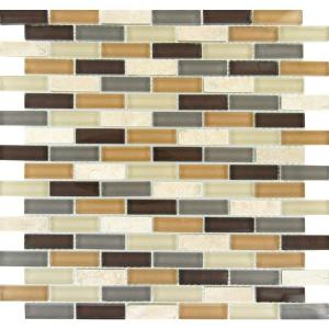luxor valley brick 12 in x 12 in x 8 mm glass stone mesh