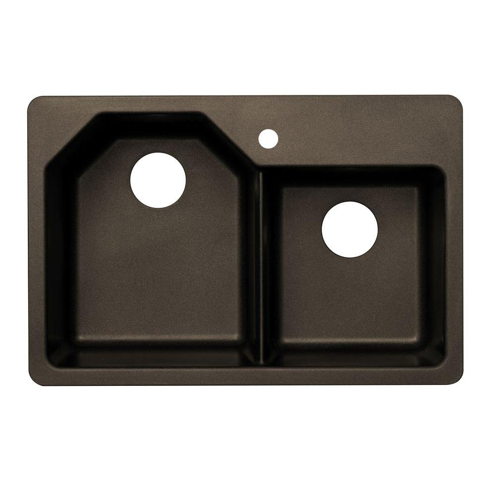 Pegasus Dual Mount Granite 33 in. 1-Hole Offset Double Basin Kitchen Sink in Metallic Chocolate