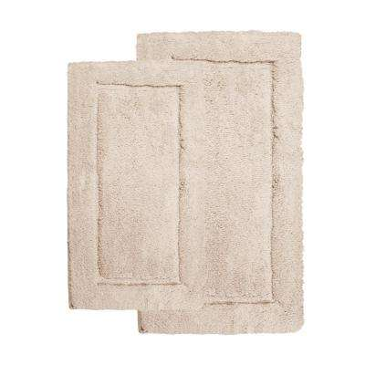 Microfiber Spa Taupe 23 in. x 39 in. 2-Piece Bath Rug Set
