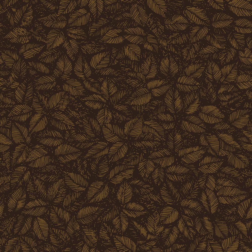 8 in. x 10 in. Amorina Brown Leaf Wallpaper Sample