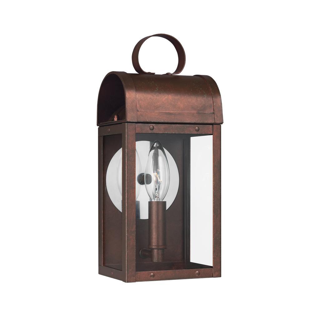 Conroe 1-Light Silver Outdoor Wall Mount Lantern