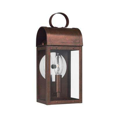 Conroe 1-Light Weathered Copper Outdoor 11.5625 in. Wall Lantern Sconce and Clear Glass with Dimmable B10 LED Bulb