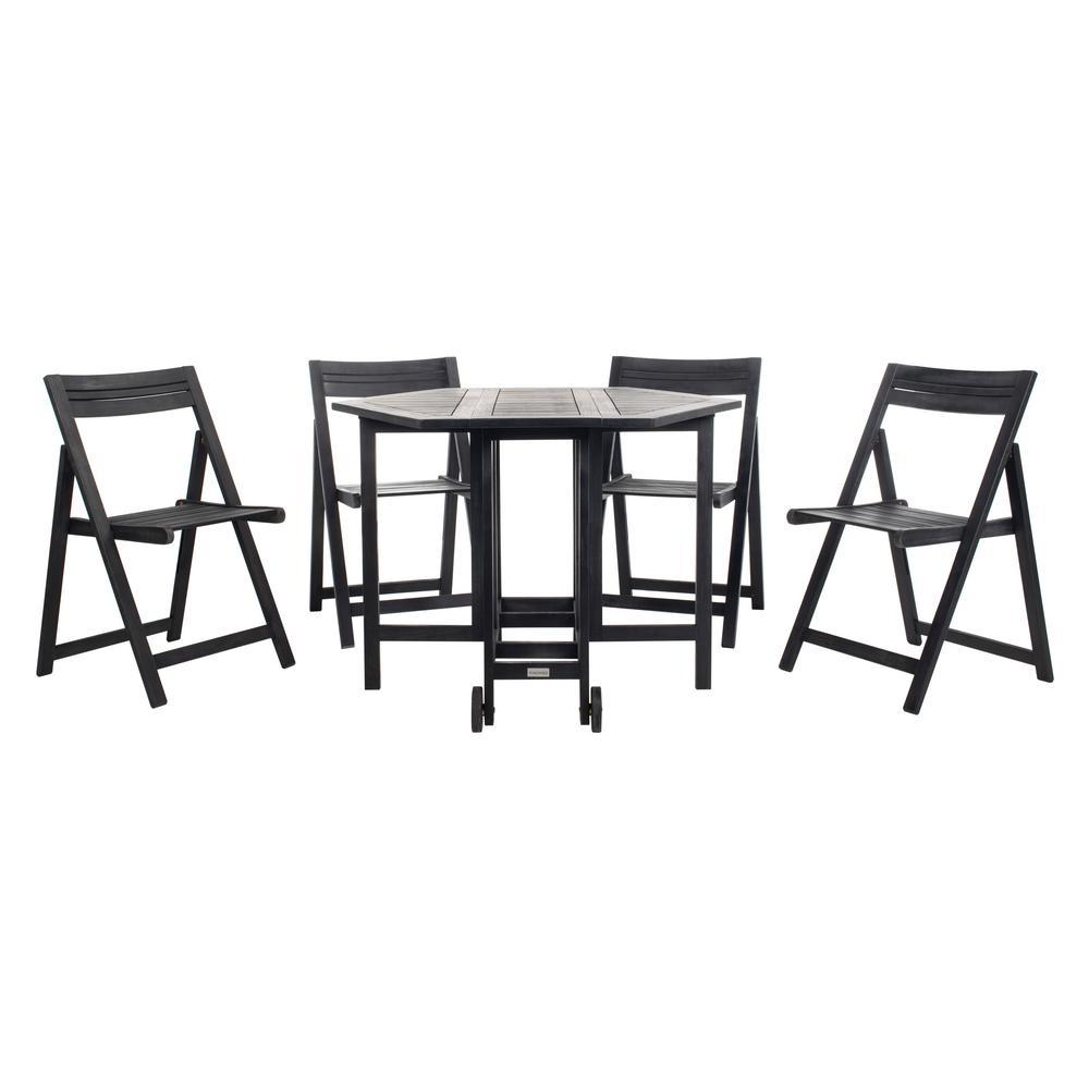 Kerman Black 5-Piece Wood Outdoor Dining Set