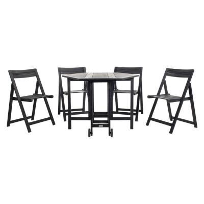 Kerman Black 5-Piece Wood Outdoor Bistro Set