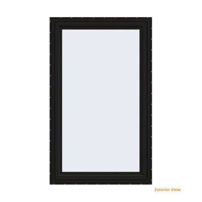 35.5 in. x 59.5 in. V-4500 Series Black Painted Vinyl Right-Handed Casement Window with Fiberglass Mesh Screen