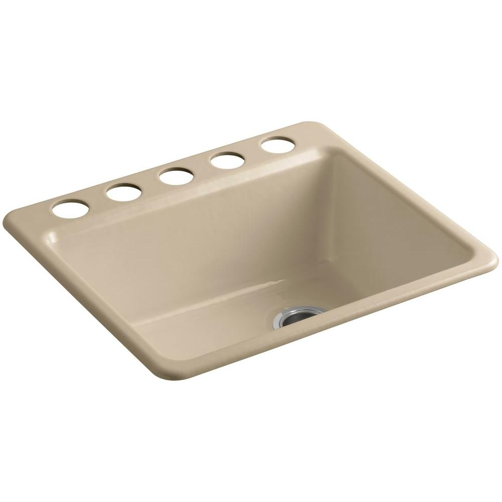 KOHLER Riverby Undermount Cast-Iron 25 in. 5-Hole Single Bowl Kitchen Sink Kit with Bowl Rack in Mexican Sand