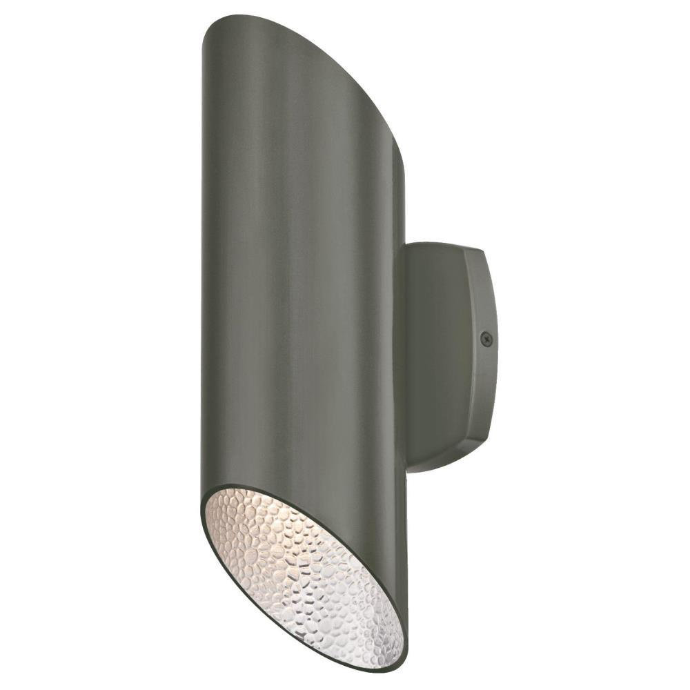 Westinghouse skyline 2 light polished graphite with hammered silver interior outdoor integrated for Low profile exterior wall lights
