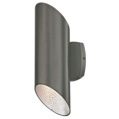 Skyline 2-Light Polished Graphite with Hammered Silver Interior Outdoor Integrated LED Wall Mount Cylinder Light