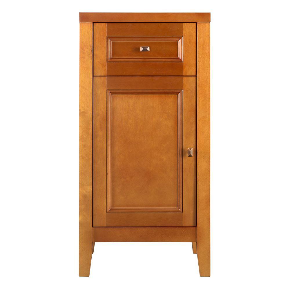 Exhibit 17-1/2 in. W x 35 in. H x 14-3/4 in. D Wood Bathroom Linen Storage Floor Cabinet in Rich Cinnamon