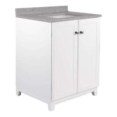 25 in. x 22 in. x 37.25 in. Bath Vanity in White w/ 4 in. Centerset Grey Moonscape Vanity Top and White Basin