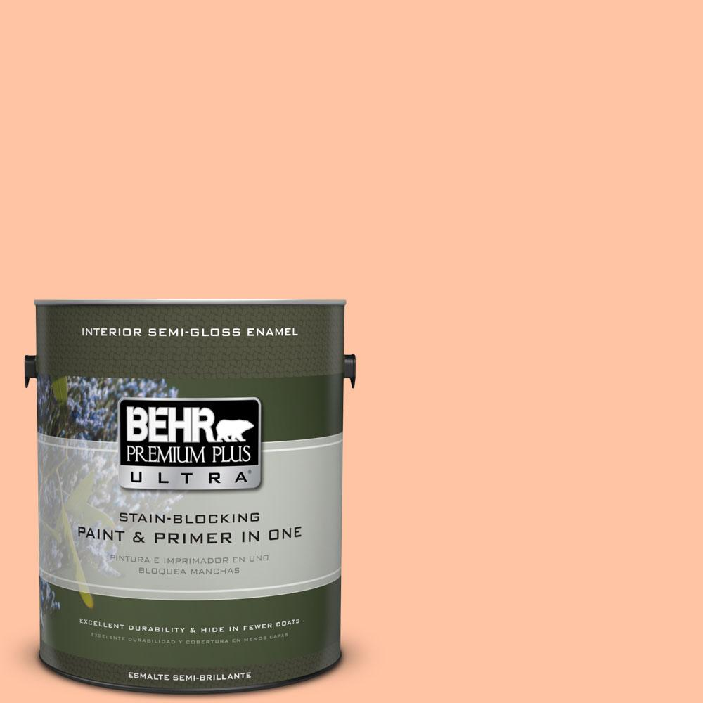 BEHR Premium Plus Ultra 1 gal. #240A-3 Bright Citrus Semi-Gloss Enamel Interior Paint and Primer in One