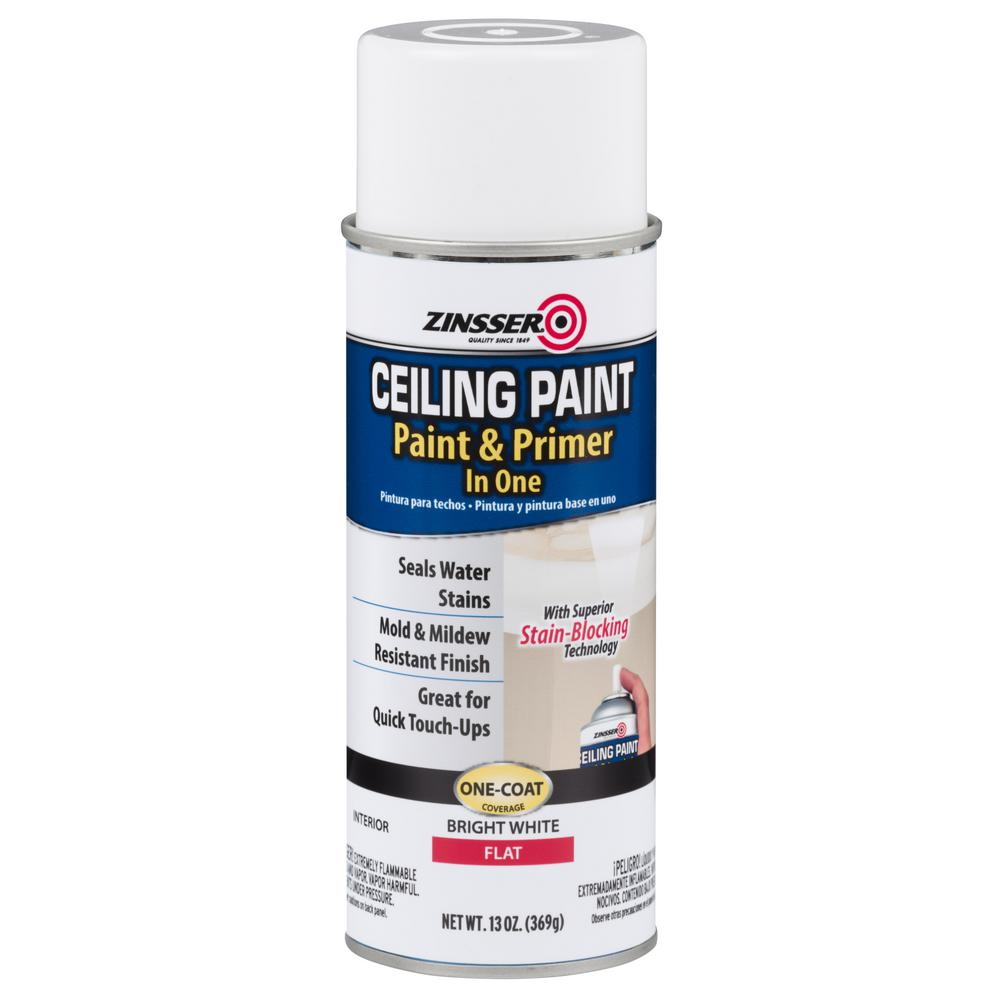 Zinsser 13 oz ceiling paint and primer in one spray case for Mold resistant bathroom paint