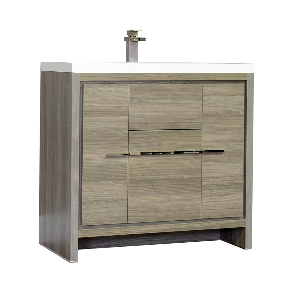 The Modern 35.625 in. W x 18.75 in. D Bath Vanity in Gray with Acrylic Vanity Top in White with White Basin