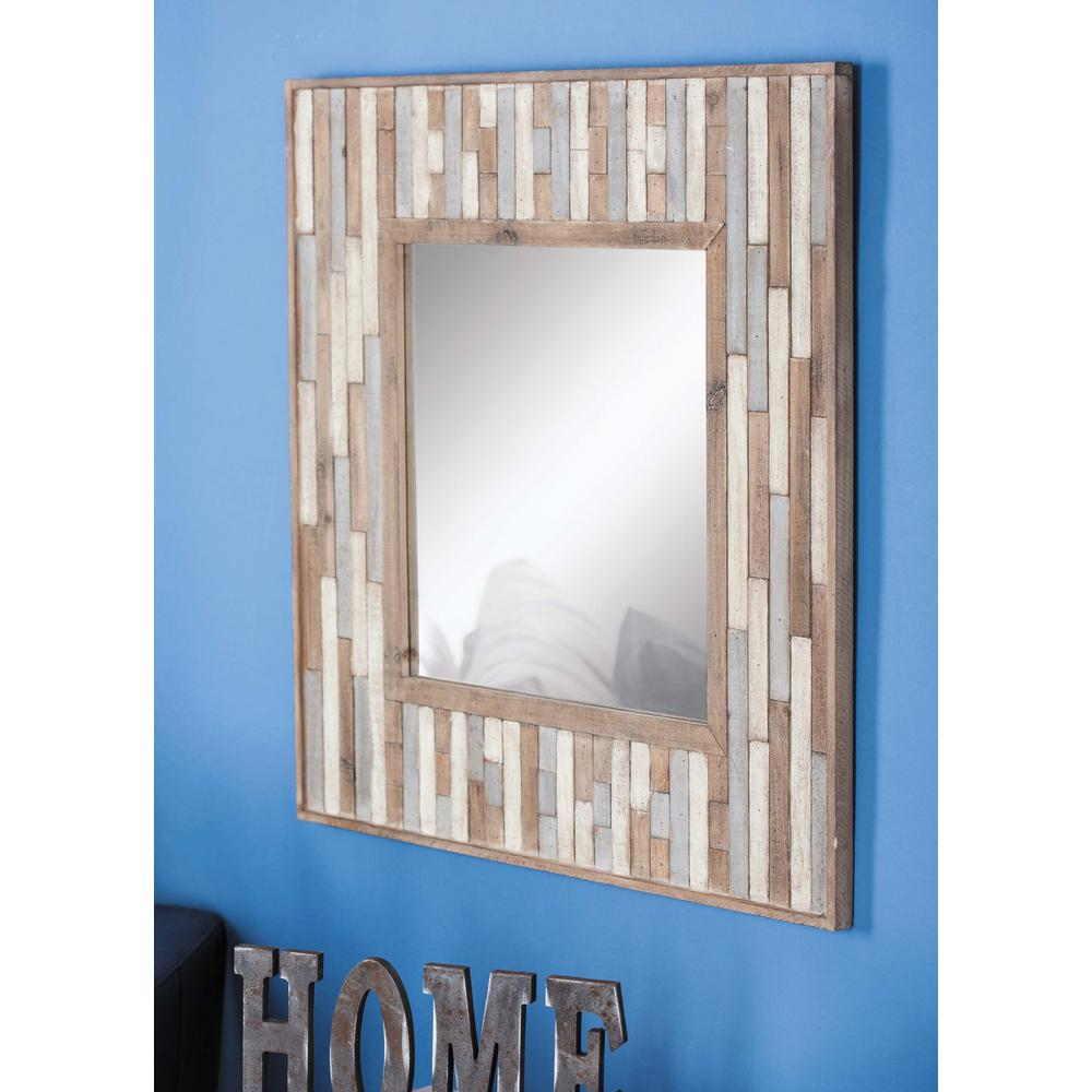 32 in x 32 in square slat framed wall mirror 84307 the for Framed wall mirrors