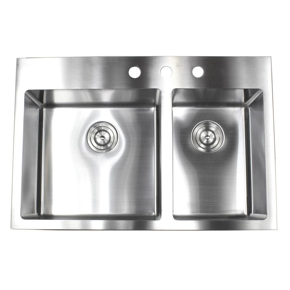 Kitchen Sink Offset From Window: Drop-in Top Mount 16-Gauge Stainless Steel 33 In. X 22 In