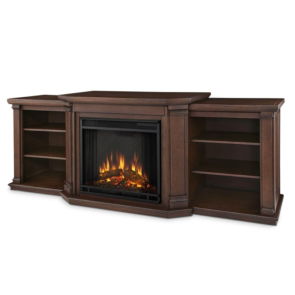 Media Console Electric Fireplace Tv Stand In Chestnut Oak