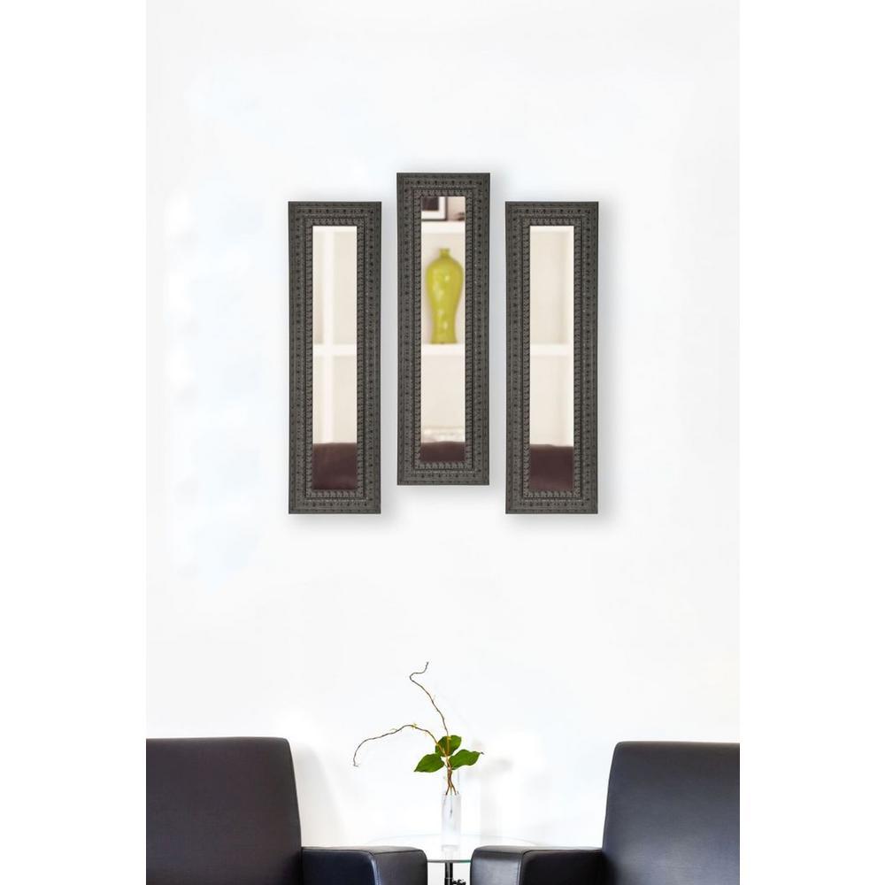 11.5 inch x 39.5 inch Dark Embellished Vanity Mirror (Set of 3-Panels) by