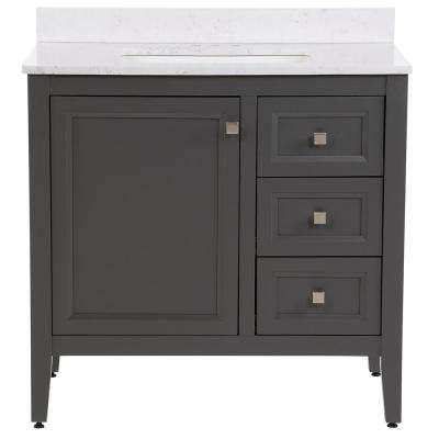 Darcy 37 in. W x 22 in. D Bath Vanity in Shale Gray with Stone Effects Vanity Top in Pulsar with White Basin