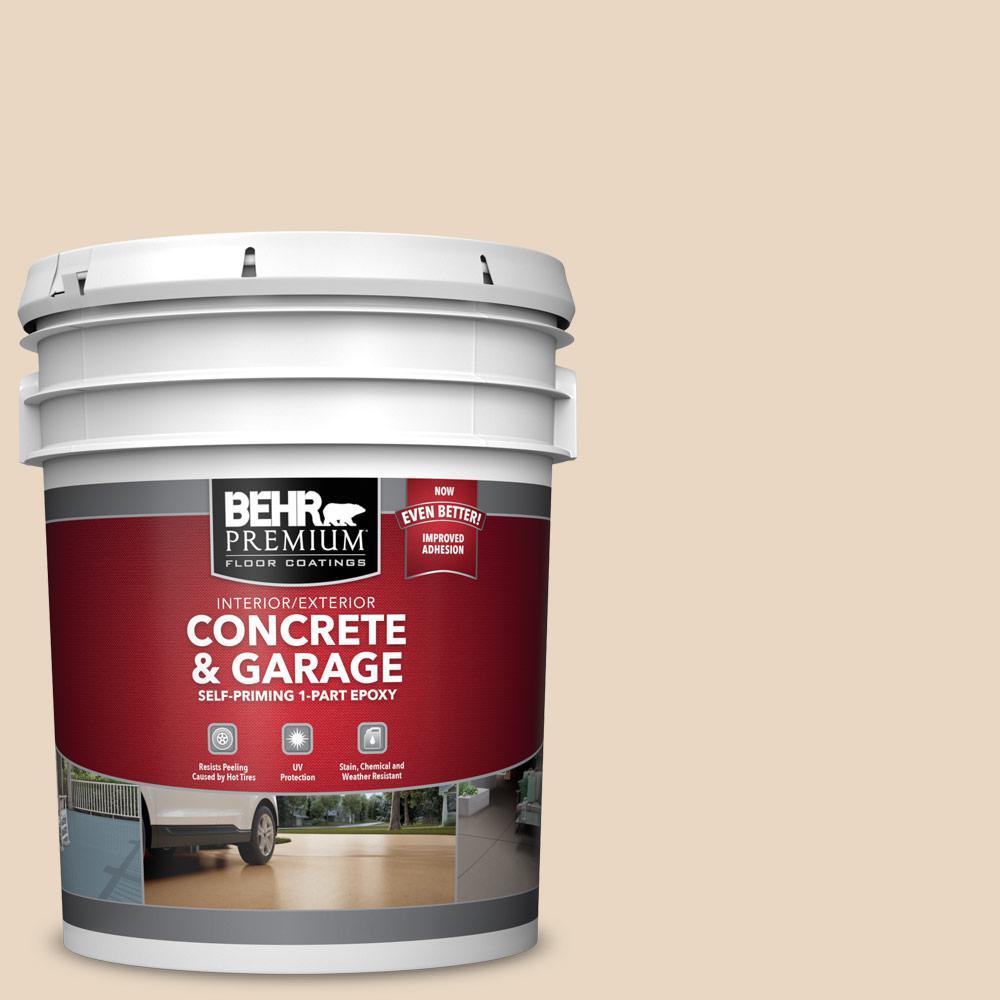 BEHR PREMIUM 5 gal. #PFC-16 Wool Coat Self-Priming 1-Part Epoxy Satin Interior/Exterior Concrete and Garage Floor Paint
