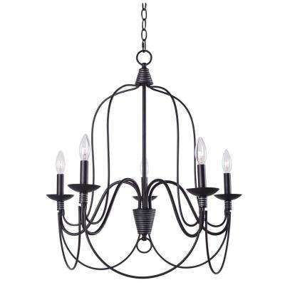 Rivy West 5 Light Oil Rubbed Bronze Chandelier With Silver Highlights Manor Brook