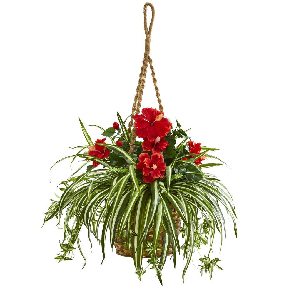 Indoor Hibiscus and Spider Artificial Plant in Hanging Basket